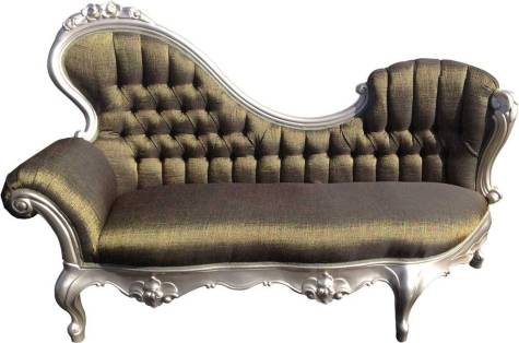 Green shimmering tufted Victorian chaise