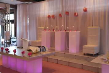 Bar-Bat-Mitzvah-dais-white-lounge-decor-hi-boys-and-stainless-table-for-podium