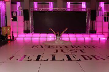 White-portable-dance-floor-with-cutom-wording-LED-stage-and-bar-mitzvah-hostess