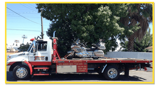 Light Duty Tow Truck flatbed with motorcycle