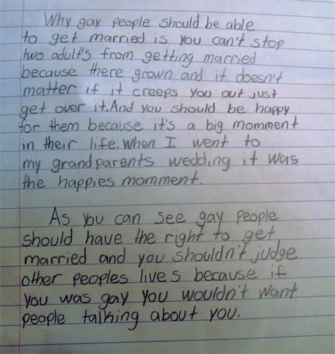a sensible fourth grader s essay on marriage equality towleroad a teacher posted the essay above to reddit saying one of my 4th grade students chose gay marriage as his topic for a persuasive essay