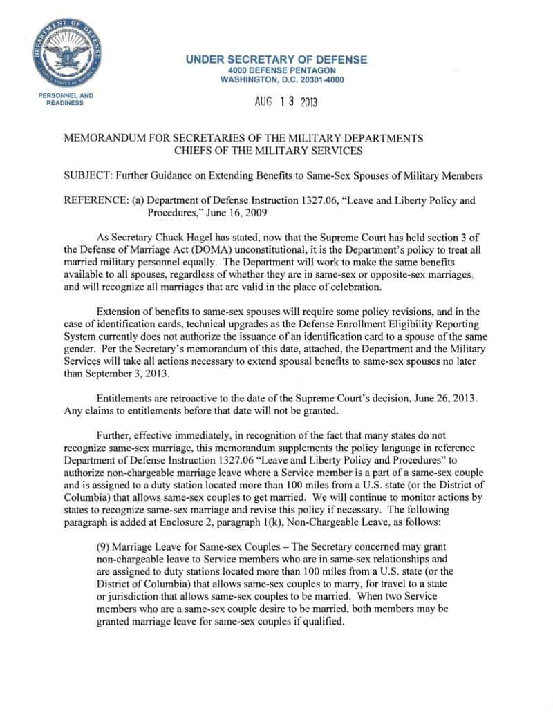 Further Guidance on Extending Benefits to Same-Sex Spouses of Military M...