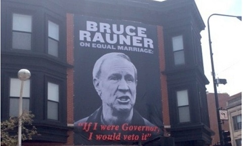 Bruce rauner poster chicaho pride