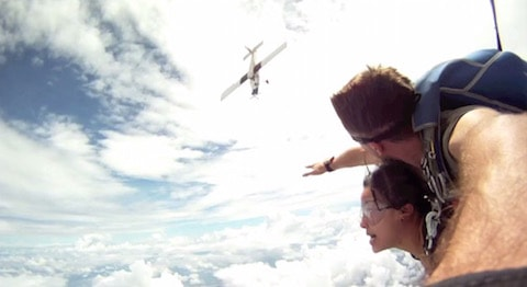 Skydiving near death collision