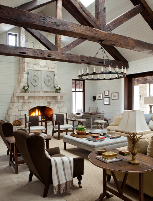Farmhouse Fireplace Decor With Mirror Texas Stone Ranch ~ Charming Home Tour - Town & Country Living