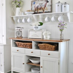 Kitchen Deco Island Furniture Farmhouse Decor Get The Look Town Country Living With White Sideboard And Shelf