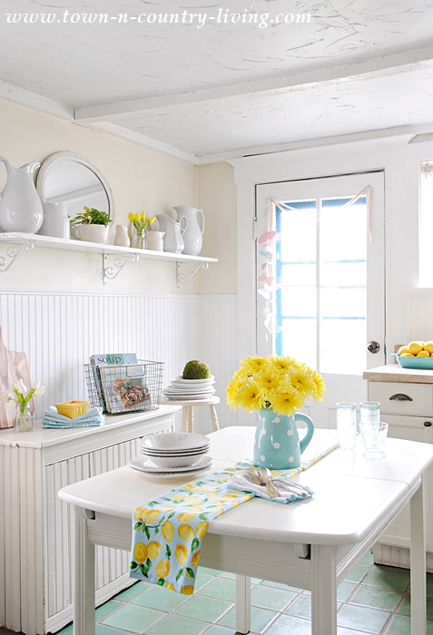 kitchen pendant light fixtures small tables sets how to add a bit of color - town & country living