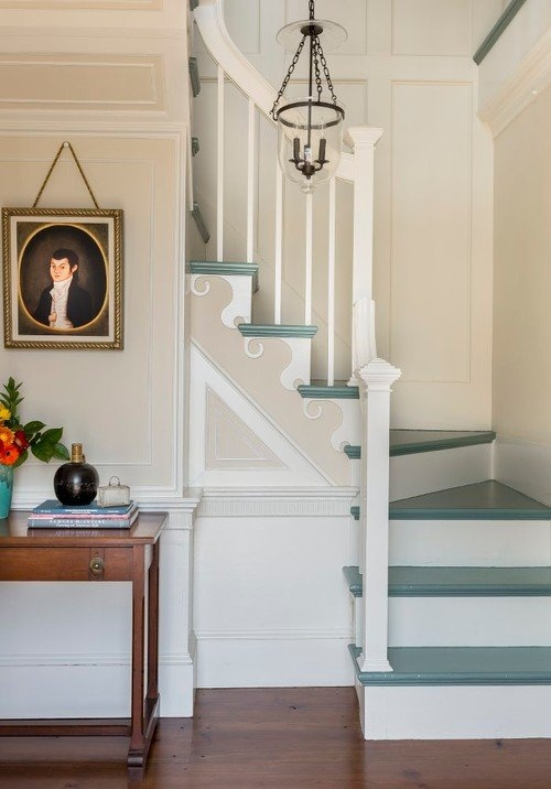 Painted Staircase Ideas And Inspiration Town Country Living | Stairs Wall Paint Design | Designer | Fancy | Beautiful | Staircase Railing Wood | Wall Colour