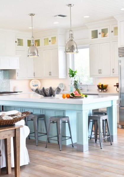 coastal kitchens with white cabinets Coastal Kitchen in Blue and White - Town & Country Living