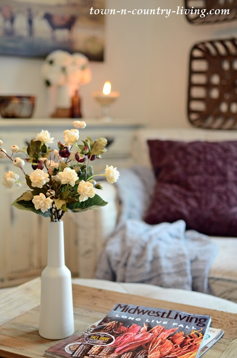 wine country living room how to decorate a big easy transition cozy fall decorating town with autumn flowers and pillow