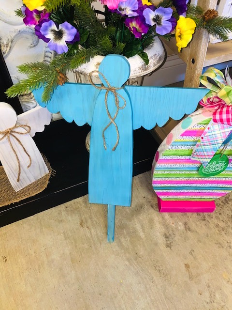 Teal or Aqua Colored Wooden Garden Angel on a Garden Stake.