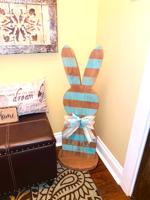 Wooden Aqua and Brown Striped Bunny Home Decor.