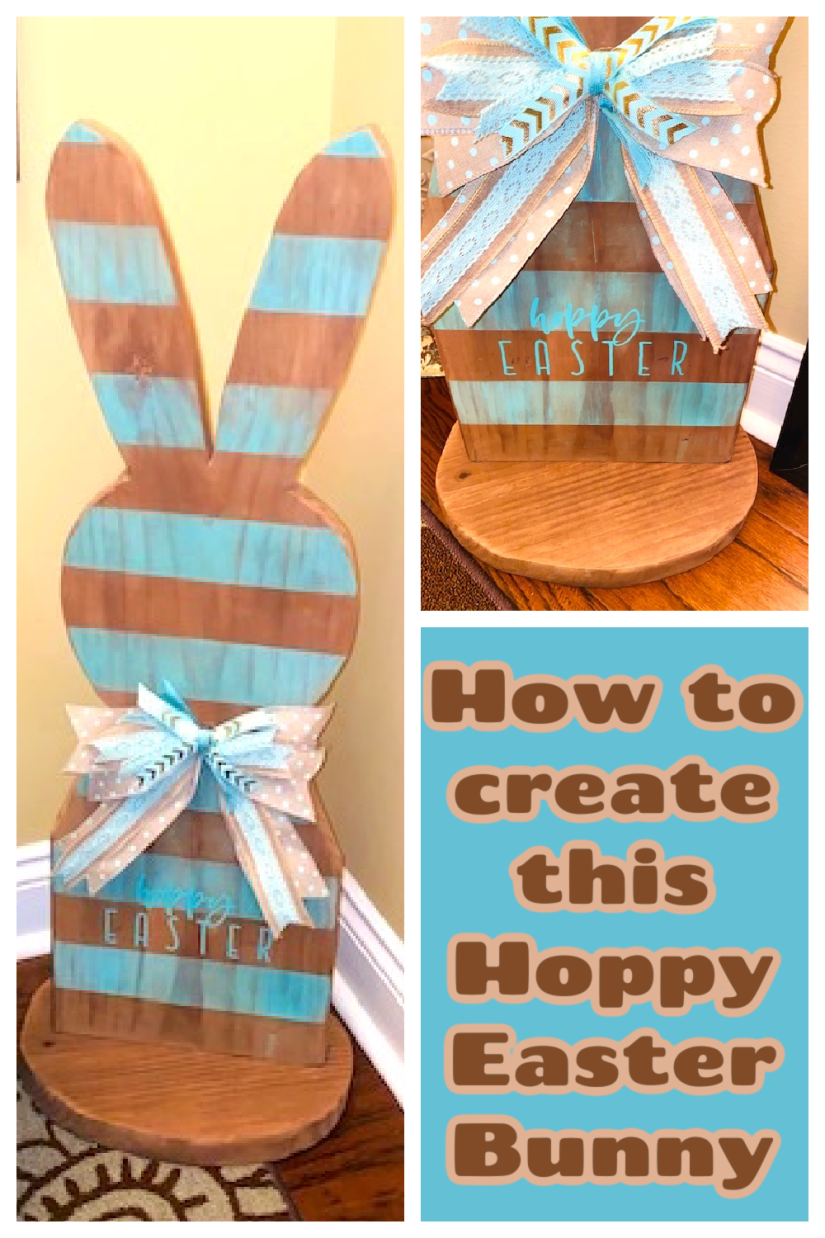 "Wooden Bunny with Brown and Aqua Stripes.  Stands on a base and has ""Hoppy Easter"" on it."