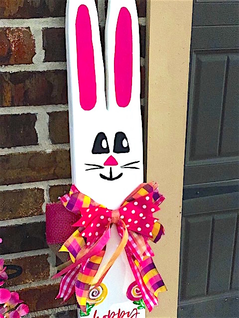 Hoppy Easter Porch Leaner with Swirl Flowers and large bow.