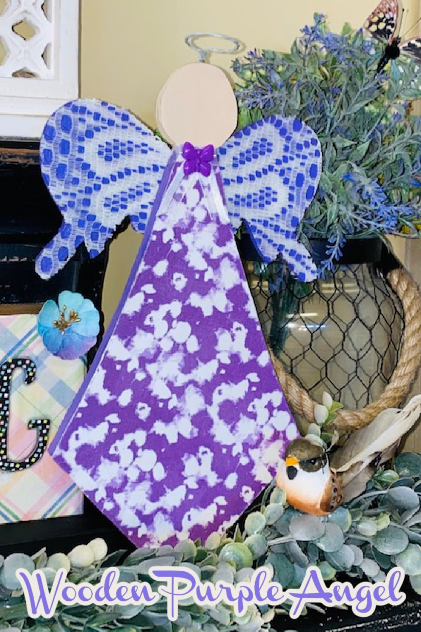 Shades of purple, wooden angel with lace and fabric decoupage.