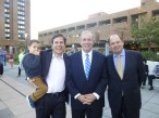 Council Member Dan Garodnick with son Asher, Borough President Scott Stringer and Waterside General Manager Peter Davis (Photo by Sabina Mollot)