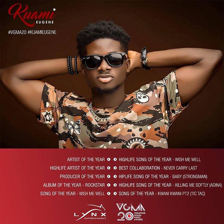 Kuami Eugene Bags 10 Nomination At Vodafone Ghana Music Awards 2019