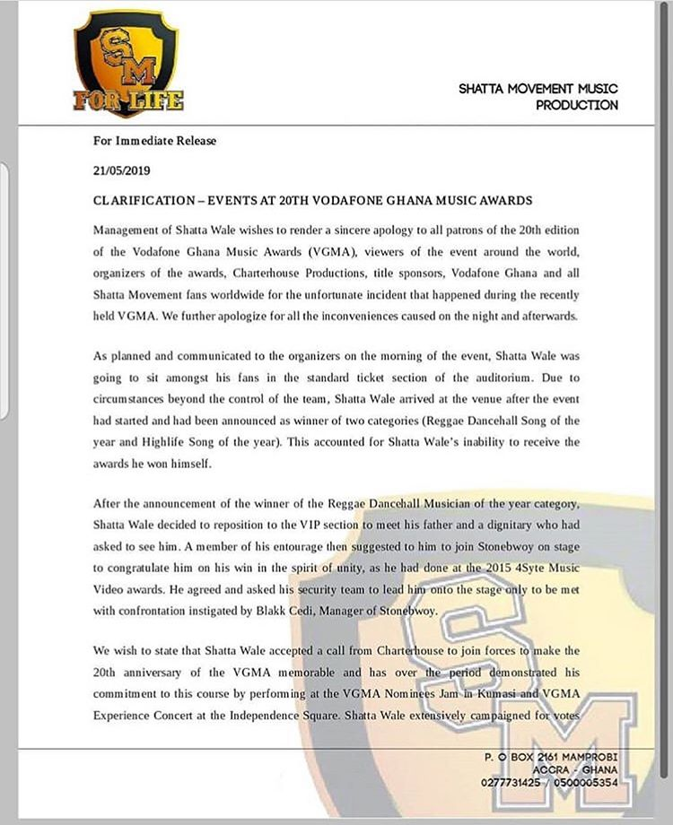 Shatta Wale Apologize After Vgma 2019