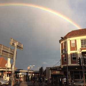 Rainbow over Town Hall Hotel Newtown