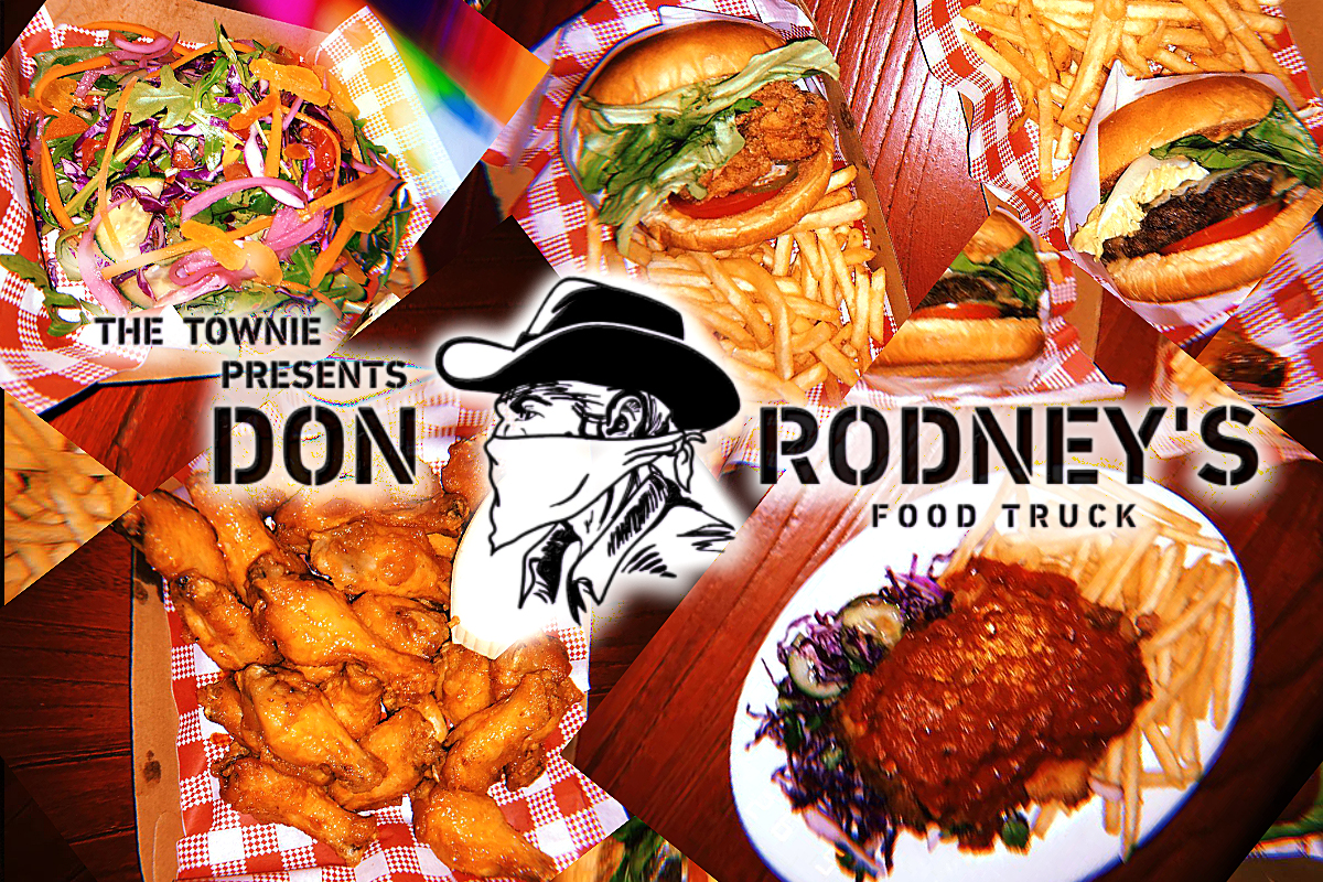 Image shows a sample of Don Rodney's Food Truck menu with the Don Rodney logo overlaid