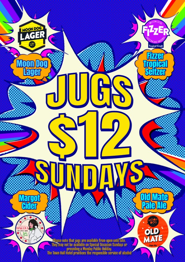 Poster for $12 Sunday Jug promotion by Moon Dog at The Townie