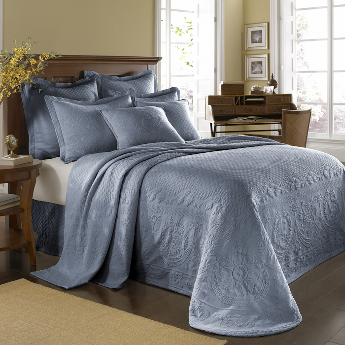 Powder Blue King Charles Bedspread And Coverlet Bedding Townhouse Linens