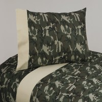 Camo Green 4pc Queen Sheet Set - flat,fitted,2 pillow ...