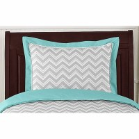 Zig Zag Turquoise and Gray Chevron Pillow Sham - Townhouse ...