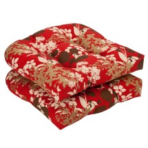 Red Brown Floral Wicker Seat Cushions Set Of 2