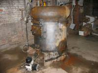 The old furnace, stripped of its protective asbestos. Side