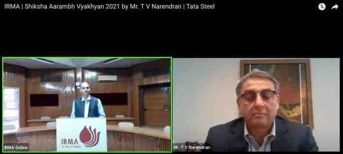 Mr. T V Narendran addressing students of IRMA