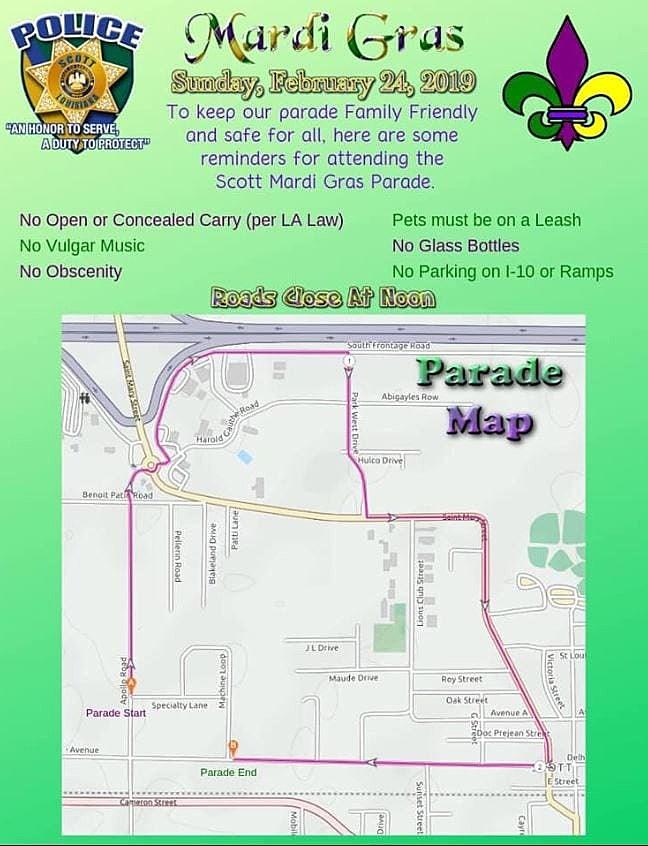 Mardi Gras Parade Routes : mardi, parade, routes, About, Scott, Mardi, Parade