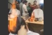 trendy barber sets hair fire