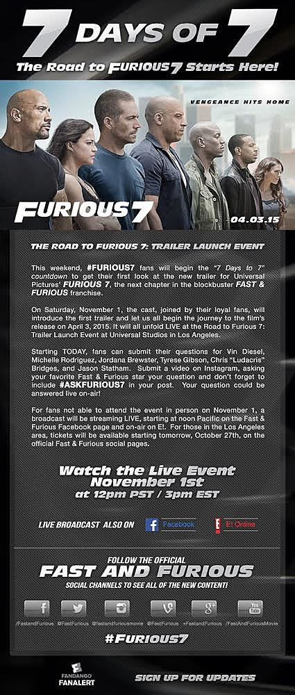 Fast And Furious 7 Streaming : furious, streaming, Trailer, 'Furious, Comes, November