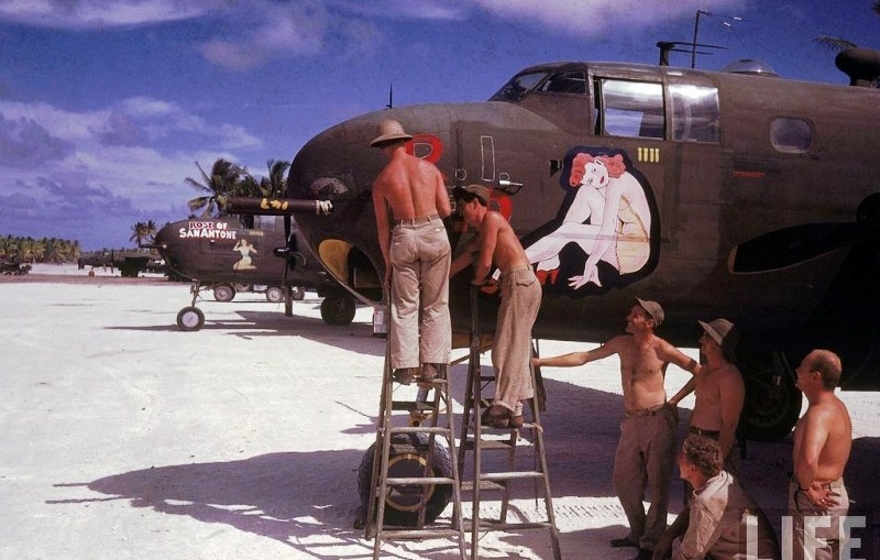 American B-25 bomber being serviced by airforce servicemen just as was carried out at Depot #2 Mount Louisa Australia
