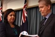 Corruption - Chairman QCCC Mr Alan MacSporran handing down the Operation Belcarra Report to Premier Annastacia Palaszczuk