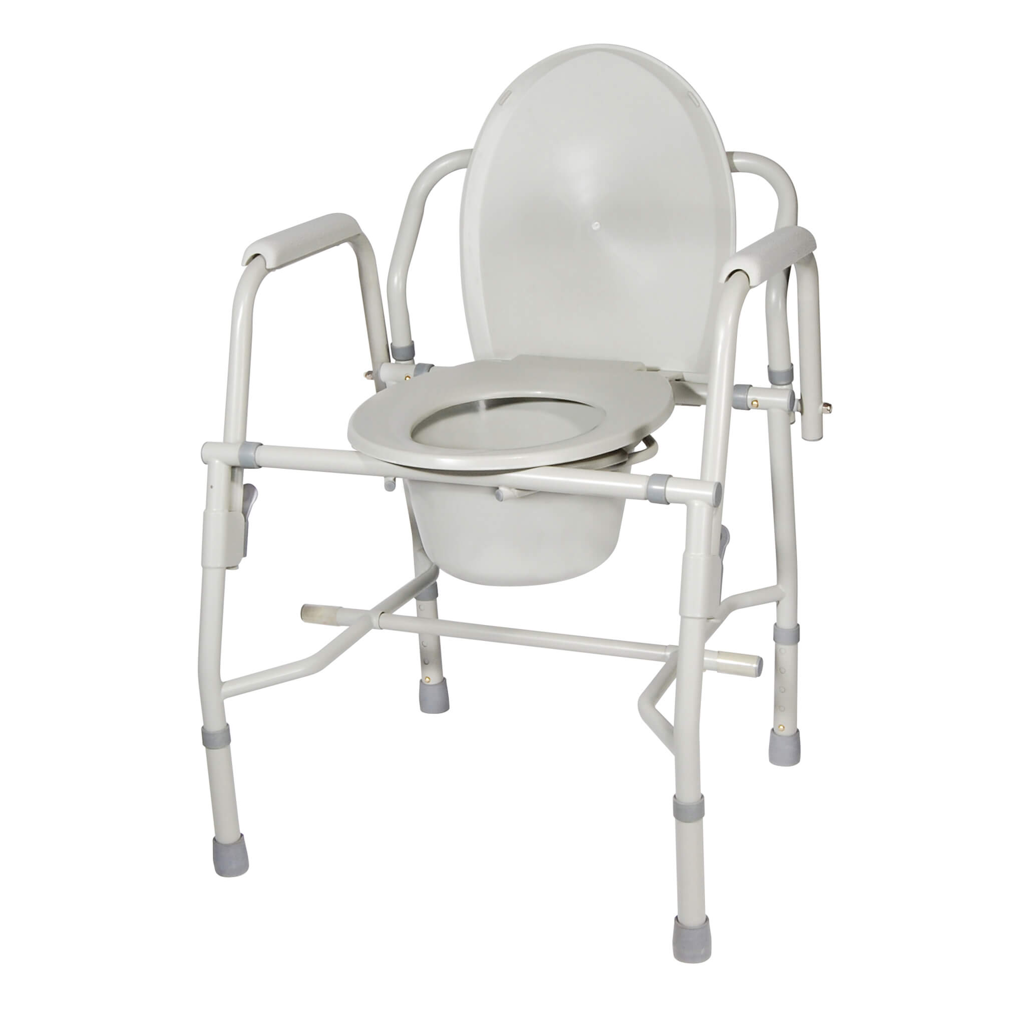 Bedside Commode Chair Steel Drop Arm Bedside Commode With Padded Arms