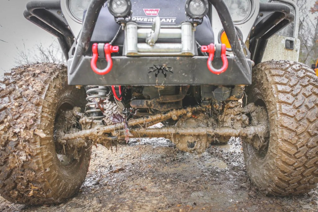 Muddy Jeep undercarriage