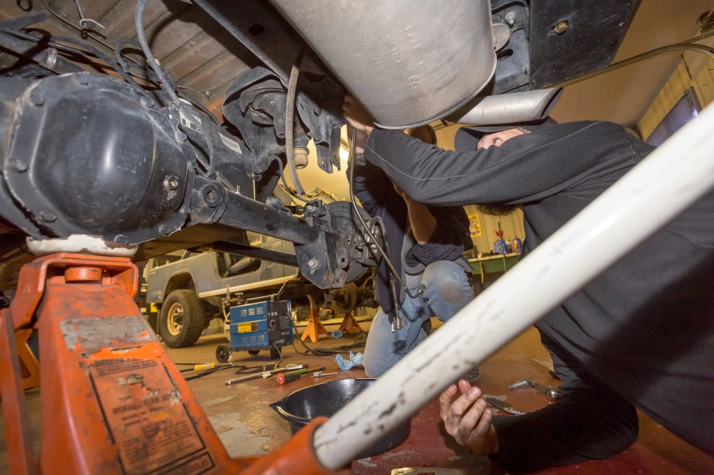 rerouting the hard brake lines during the Currie Enterprises suspension system install