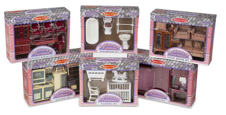 Melissa & Doug Classic Victorian Wooden and Upholstered Dollhouse Furniture