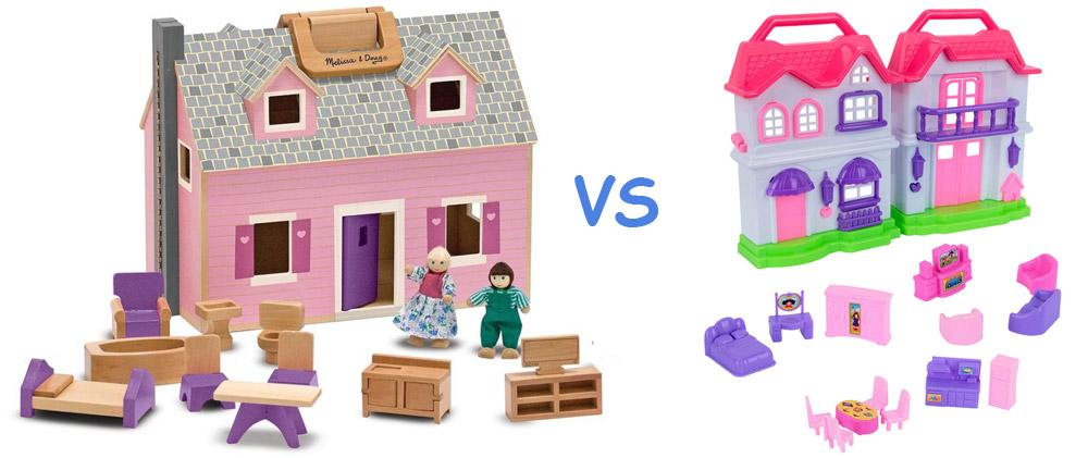 plastic dollhouse vs wooden dollhouse