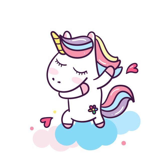 A sweet unicorn dabbing and sending love
