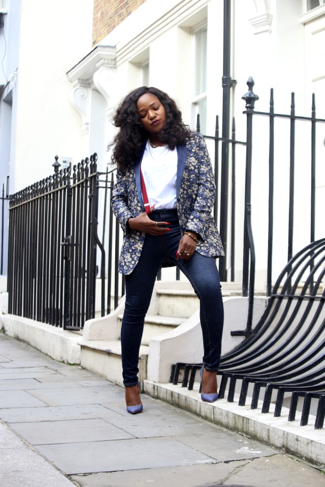 Jacquard blazer and denim styling