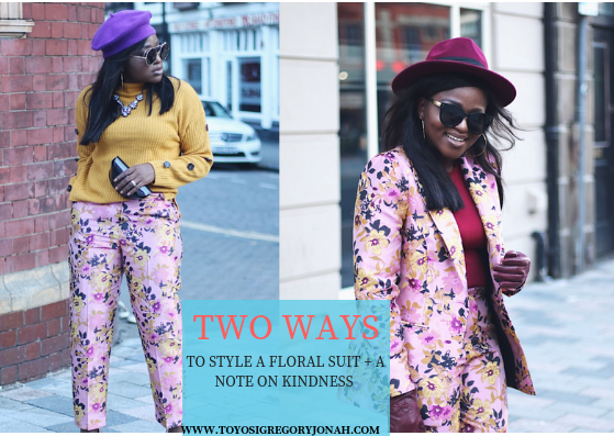 floral suit ,styleblogger ,how to style floral suit , burgundy ,hats fashion ,river island floral suit