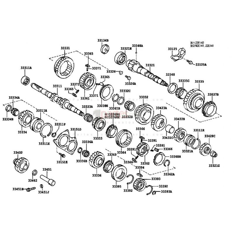 Engranaje de 2da|Toyota|Corolla|Camry|Celica|Sky (T)|Prizm