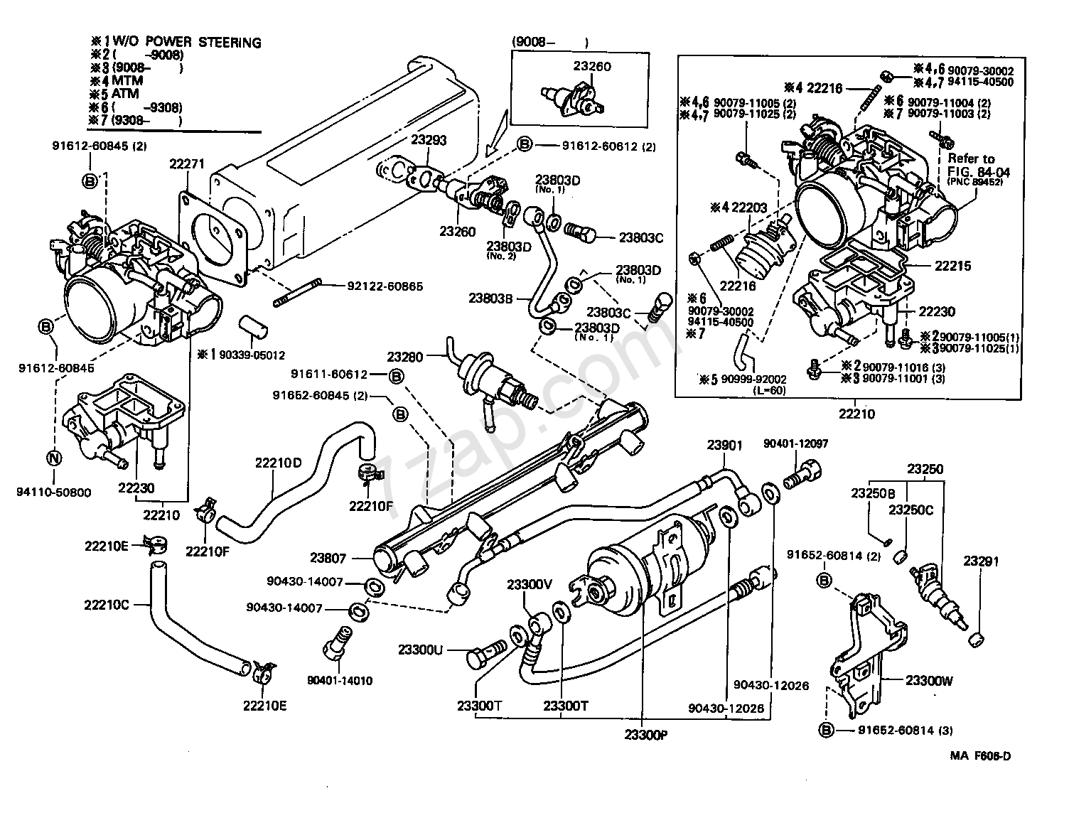 Fuel Injection System Illust No 1 Of 2 22re Toyota 4 Runner Truck Rn10 110 13