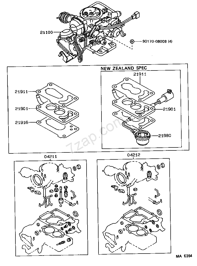 CARBURETOR ASSEMBLY TOYOTA COROLLA [AE95] (ASIA and MIDDLE