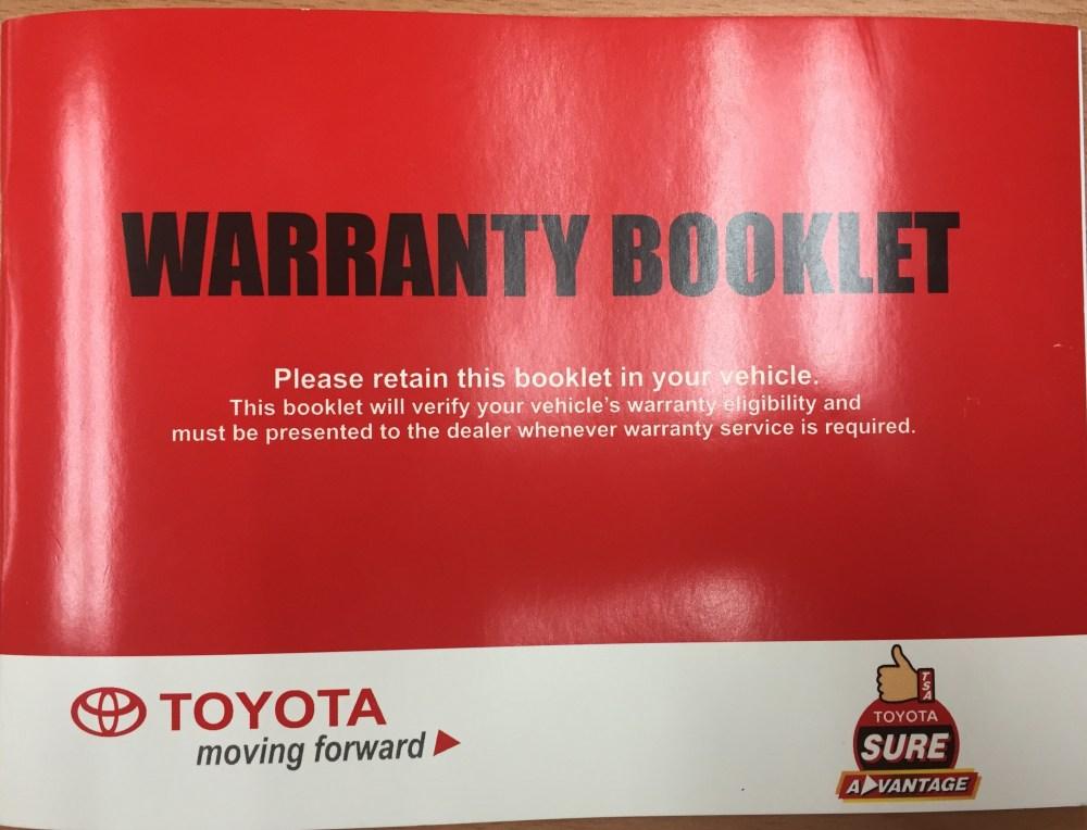 medium resolution of toyota warranty booklet