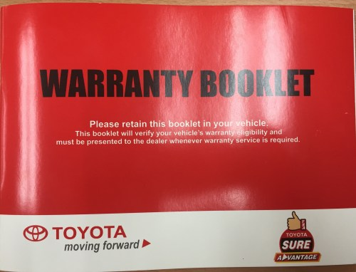 small resolution of toyota warranty booklet