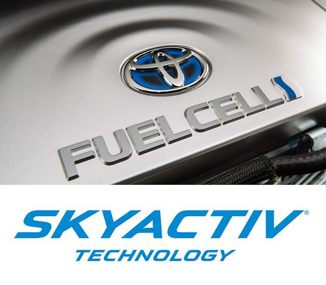 Toyota fuel cell and Mazda skyactiv